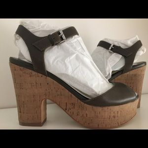 Marc Fisher Calia2 Green Leather Wedges